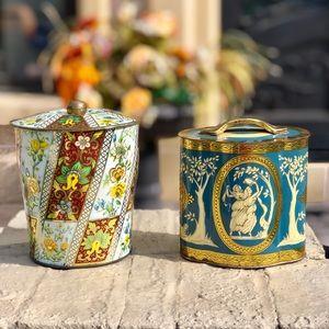 Vintage English tin cans collectible antique decor